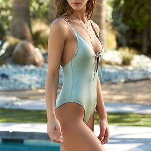 LA Hearts Green Shine Keyhole One Piece Swimsuit